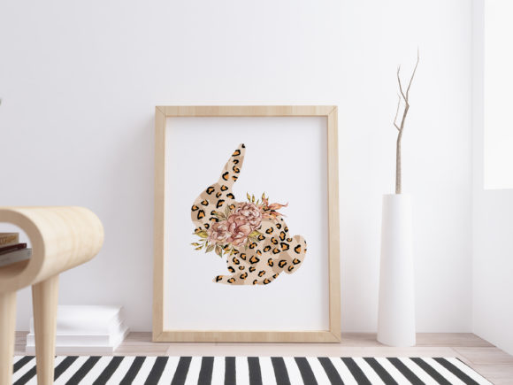 Leopard Floral Bunny Clipart Graphic Download