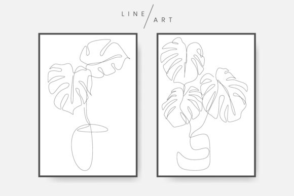 Monstera Leaf Line Art Graphic Illustrations By Twiri