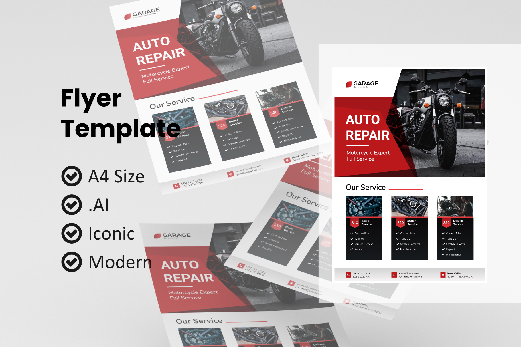 Motorcycle Service Flyer Template Graphic By Rivatxfz Creative Fabrica