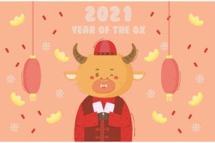 Ox Holding Envelope Chinese New Year Graphic Backgrounds By april_arts