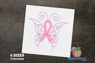 Pink Ribbon with Butterfly Wings Hintergründe Stickdesign von embroiderydesigns101