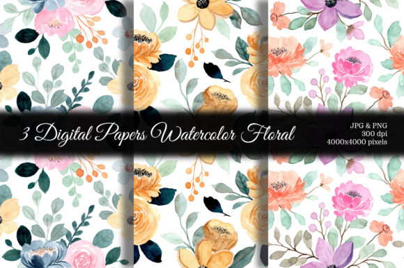 Print on Demand: Seamless Pattern Floral Watercolor 126 Graphic Patterns By asrulaqroni