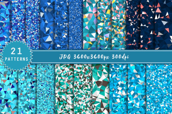 Print on Demand: Set of LowPoly Backgrounds in Blue Tones Graphic Patterns By Светлана Зиновьева
