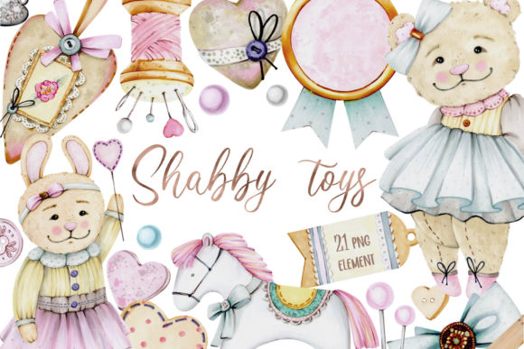 Print on Demand: Shabby Toys Markers Clipart Graphic Illustrations By VashaRisovasha