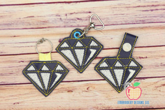 Shiny Bright Diamond ITH Keyfob Design Accessories Embroidery Design By embroiderydesigns101
