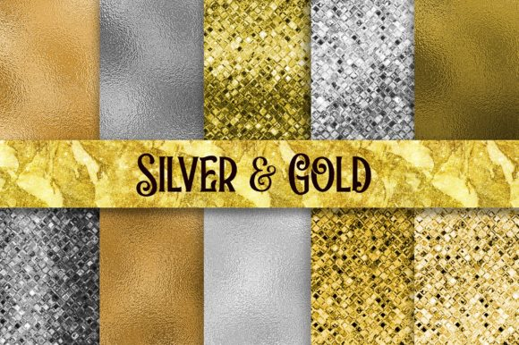 Silver and Gold Glitter Foil Texture Graphic Backgrounds By PinkPearly