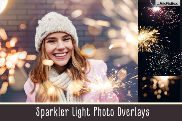 Print on Demand: Sparkler Light Photo Overlays Graphic Layer Styles By MixPixBox