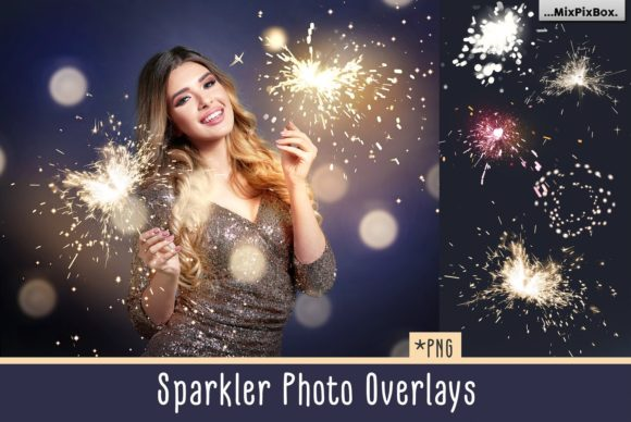 Print on Demand: Sparkler Photo Overlays Graphic Layer Styles By MixPixBox