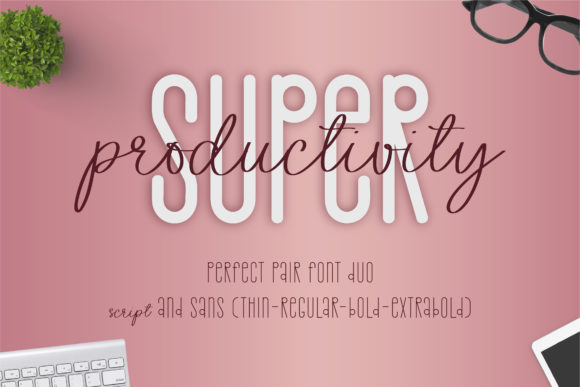 Print on Demand: Super Productivity Script & Handwritten Font By BitongType