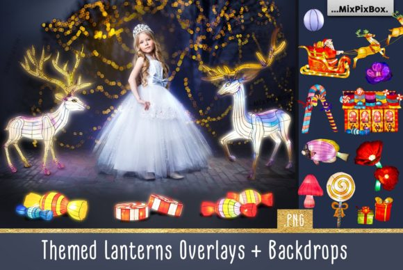 Print on Demand: Themed Lantern Overlays and Backdrop Graphic Layer Styles By MixPixBox