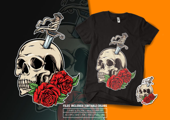 T-shirt Design - Skull, Dagger and Roses Graphic Print Templates By bagusjulianto