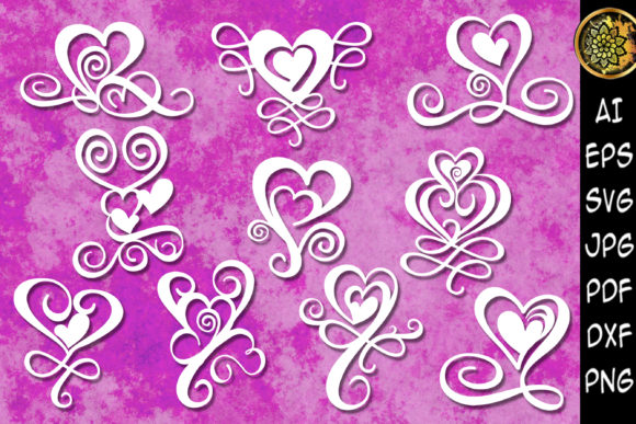 Print on Demand: Valentine Swirl Heart SVG Clipart Graphic Illustrations By V-Design Creator