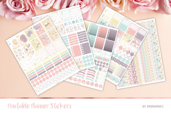 Valentine's Day Printable Stickers Graphic Print Templates By GVGraphics