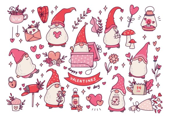 Valentine's Day Gnomes Cute Doodle Graphic Illustrations By Big Barn Doodles