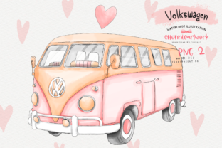 Print on Demand: Watercolor Pink Volkswagen Van Gráfico Crafts Por Chonnieartwork
