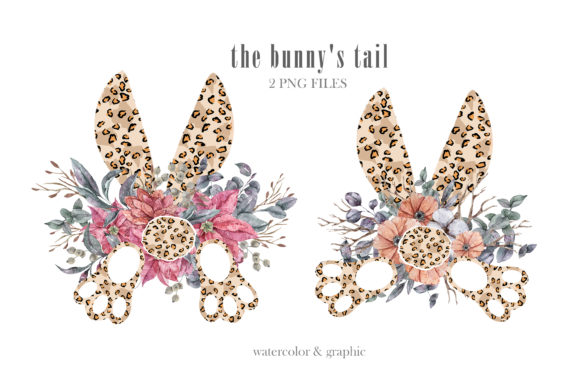 Print on Demand: Watercolor Leopard Bunnys Tail Clipart Graphic Illustrations By Tiana Geo