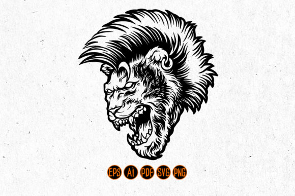 Print on Demand: Angry Lion with Mohawk Hair Silhouette Graphic Crafts By artgrarisstudio