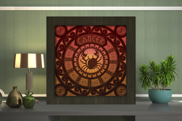Print on Demand: Cancer Zodiac Light Box Shadow Box Graphic 3D Shadow Box By LightBoxGoodMan