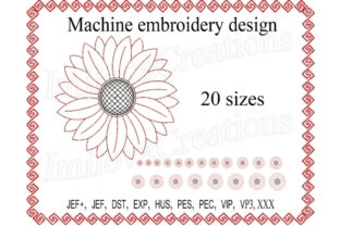Chamomile Sunflower Single Flowers & Plants Embroidery Design By ImilovaCreations
