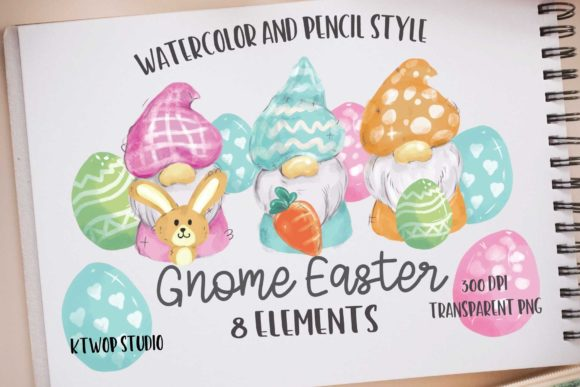 Print on Demand: Cute Gnomes Easter Day Clipart Graphic Illustrations By KtwoP