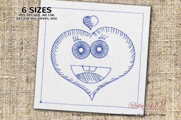 Cute Heart Shape with Face Redwork Valentine's Day Embroidery Design By Redwork101