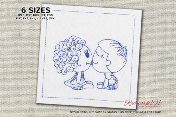 Cute Kids Kissing Lineart Design Valentinstag Stickdesign von Redwork101