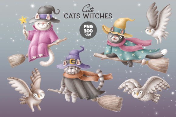 Print on Demand: Cute Cat Witches and Owls Graphic Illustrations By Architekt_AT