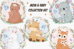 Print on Demand: Cute Mommy and Baby Animals Clipart Set Graphic Illustrations By DrawStudio1988