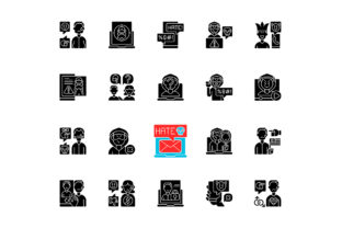 Print on Demand: Cyberbullying Black Glyph Icons Set Graphic Icons By bsd studio