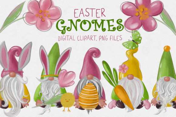 Easter Gnomes Clipart Graphic