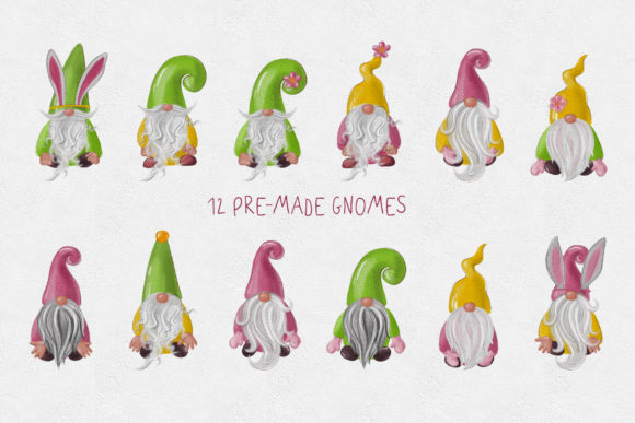 Easter Gnomes Clipart Graphic Download