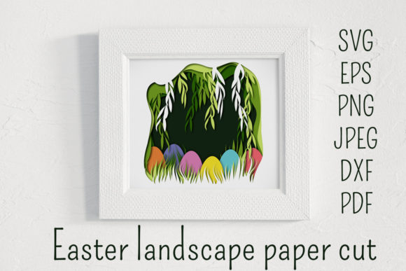 Easter Paper Cut Landscape. Graphic 3D Shadow Box By inkoly.art