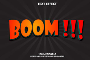 Editable Text Effect - Boom Style Graphic Layer Styles By Rizu Designs
