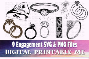 Print on Demand: Engagement Ring Silhouette, Diamond Graphic Crafts By DigitalPrintableMe