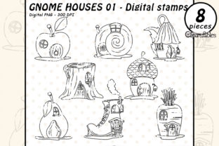 GNOME HOUSES Digital Stamps, Fariy Tale Graphic Illustrations By clipartfables