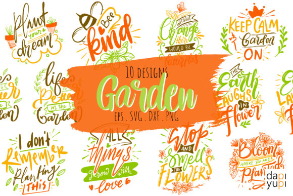 Garden Lettering Quotes Bundle Graphic Crafts By dapiyupi