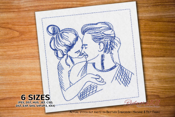 Girl Kissing Boy Redwork Design Valentinstag Stickdesign von Redwork101