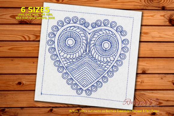 Heart Shape Mandala Owl Redwork Valentine's Day Embroidery Design By Redwork101