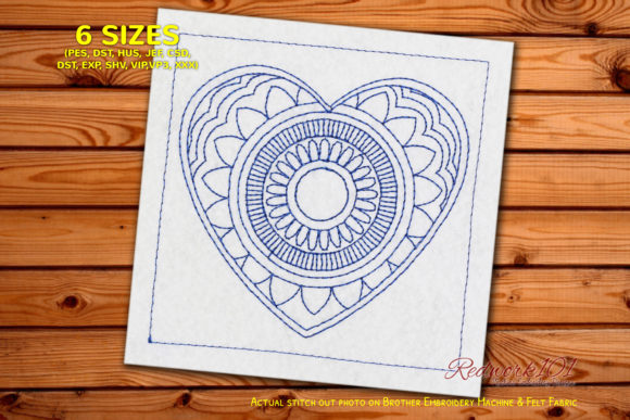Heart Shaped Mandala Design Redwork Valentine's Day Embroidery Design By Redwork101