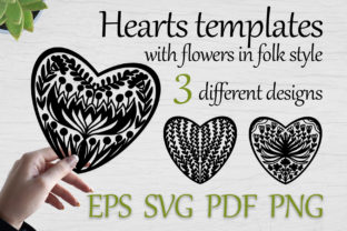 Heart Templates with Flowers, Svg, Eps Graphic Print Templates By FolkStyleStudio