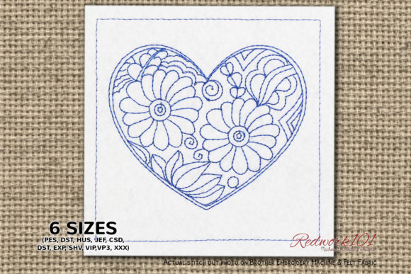 Mandala Heart Shape Design Valentine's Day Embroidery Design By Redwork101