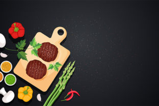 Meat Vegetables on Cooking Black Table Graphic Illustrations By jongcreative