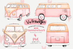 Print on Demand: Pink Volkswagen Van Sublimation Bundle Gráfico Crafts Por Chonnieartwork