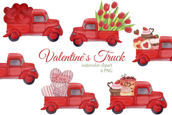 Print on Demand: Red Trucks with Hearts, Tulips and Sweet Graphic Illustrations By s.yanyeva