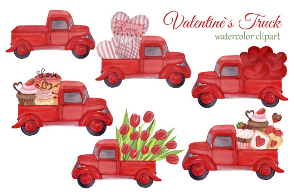 Red Trucks with Hearts, Tulips and Sweet Graphic Download