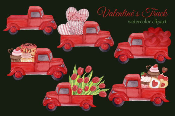 Red Trucks with Hearts, Tulips and Sweet Graphic Item
