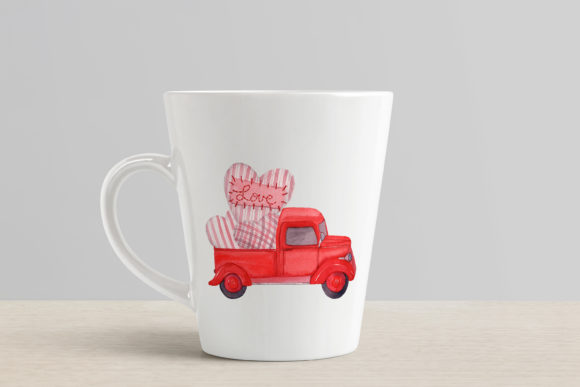 Red Trucks with Hearts, Tulips and Sweet Graphic Design