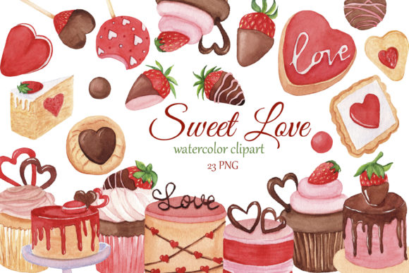 Print on Demand: Sweet Love Watercolor Clipart, Valentine Graphic Illustrations By s.yanyeva