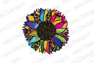 Print on Demand: Tie Dye Leopard Sunflower Clipart Graphic Illustrations By NNJ Designs