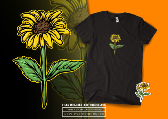T-shirt Design - the Sunflower Graphic Print Templates By bagusjulianto